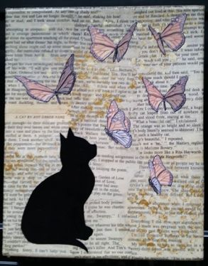 mixed media cat and butterflies